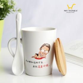 【人就是賤-品牌商品】-小版馬克杯,附木頭蓋,陶瓷勺子(含運費)